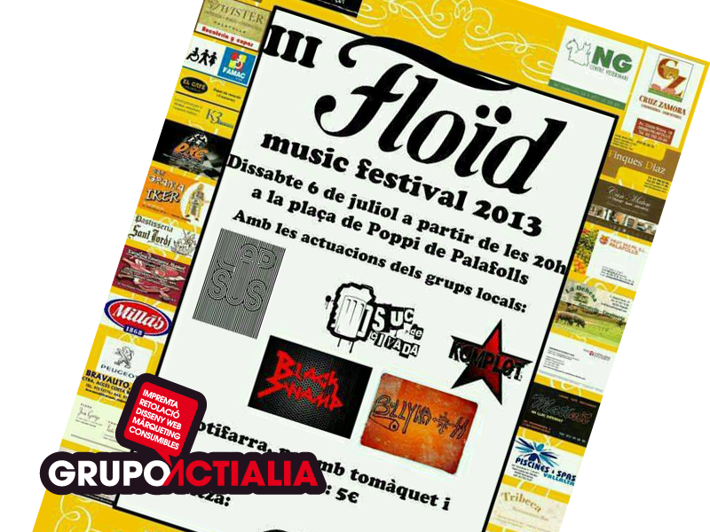 Grupo Actialia patrocina el Floïd Music Festival 2013 en Palafolls