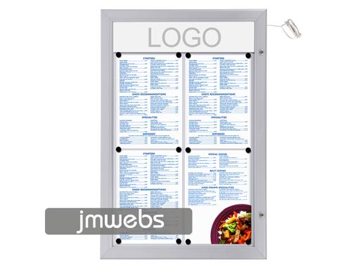 Vitrina exterior cartas de menú restaurante 4x4 led