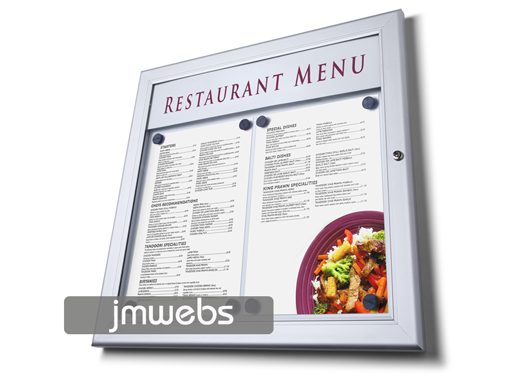 Vitrina exterior cartas de menú restaurantes 2xa4