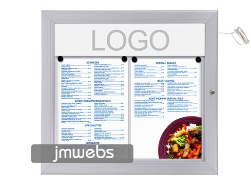 Vitrina exterior cartas de menú restaurante 2xa4 led