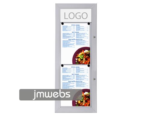 Vitrina exterior cartas de menú restaurante 2xa4 lineal