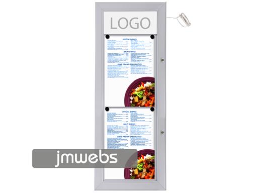 Vitrina exterior cartas de menú restaurante 2xa4 lineal led